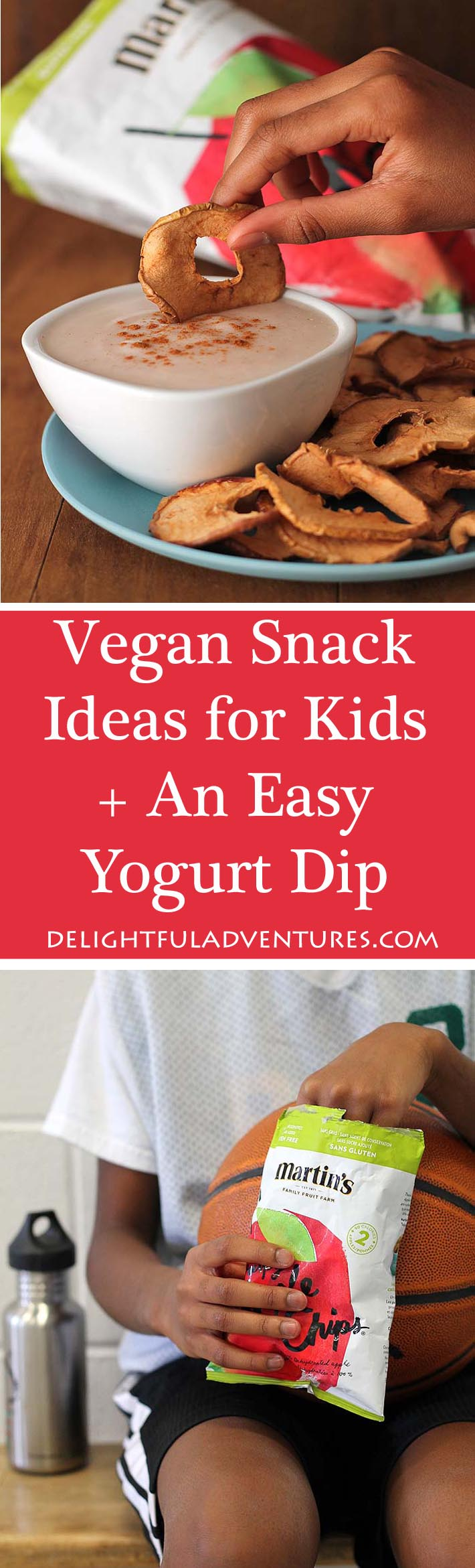 Looking for vegan Snack Ideas for Active Kids? This list will give you some good ideas and you'll also find a recipe for an Easy Vegan Yogurt Dip they'll love! #vegansnacks #veganglutenfree #vegansnackideas #snackideasforkids #martinspplechips #TrulyCrisp #PurelyFun #ad