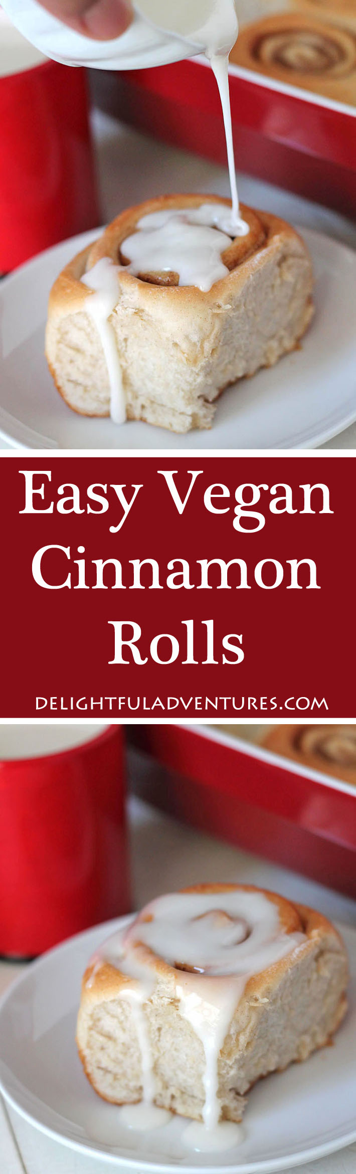 Soft, fluffy, easy vegan cinnamon rolls that can be made right away or prepared the day before and baked in the morning. They're perfect for enjoying with tea or serving at brunches, breakfast or during the holidays! #cinnamonrolls #vegancinnamonrolls #cinnamonbuns #vegancinnamonbuns #veganrolls