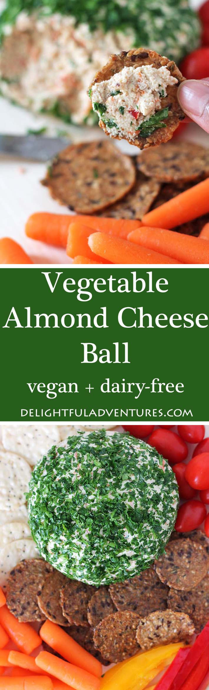 A cheesy vegan almond cheese makes up the base for this savoury,  delicious vegan vegetable almond cheese ball that's great for snacking on or for parties. #vegancheeseball #vegancheese #almondcheese #veganalmondcheese