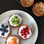 Grab the recipe for these easy-to-make fruit and yogurt granola cups that are great to have a breakfast, to serve at brunch or for snacking on. Plus, they can be filled with anything you like, not just fruit and yogurt!
