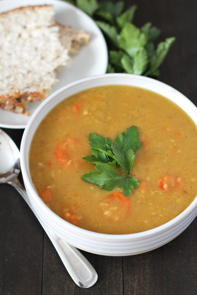 An easy-to-make Curried Instant Pot Split Pea soup that's perfect for lunches and dinner. This delicious soup can also be made on your stove top and instructions on how to do that are included.