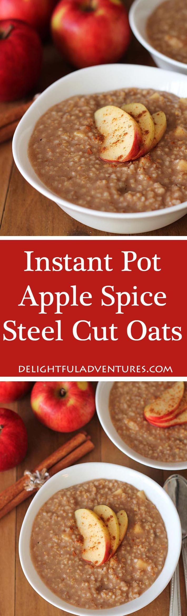 Apple Spice Instant Pot Steel Cut Oats make the perfect easy, warm, and delicious breakfast for cold days. #instantpot #pressurecooker #steelcutoats #veganglutenfree #glutenfreevegan #veganbreakfast #glutenfreebreakfast