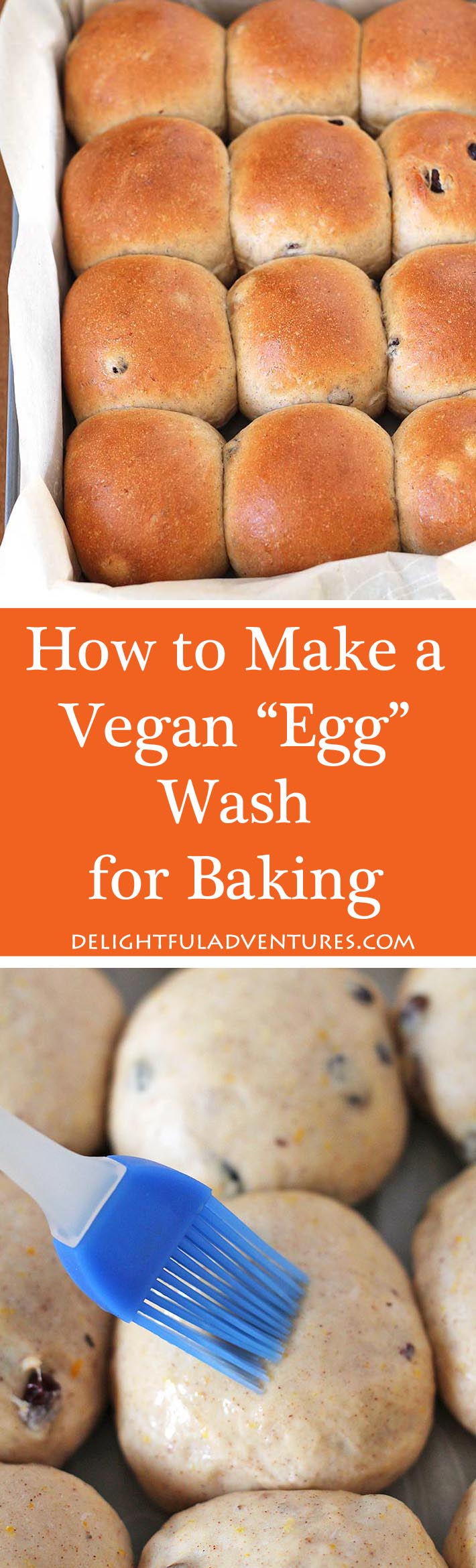 Wondering how to make a vegan egg wash for baking? This post will give you a few ways you can make egg wash substitutes for your sweet and savoury baked goods. #veganeggwash #veganbaking #vegansubstitutes
