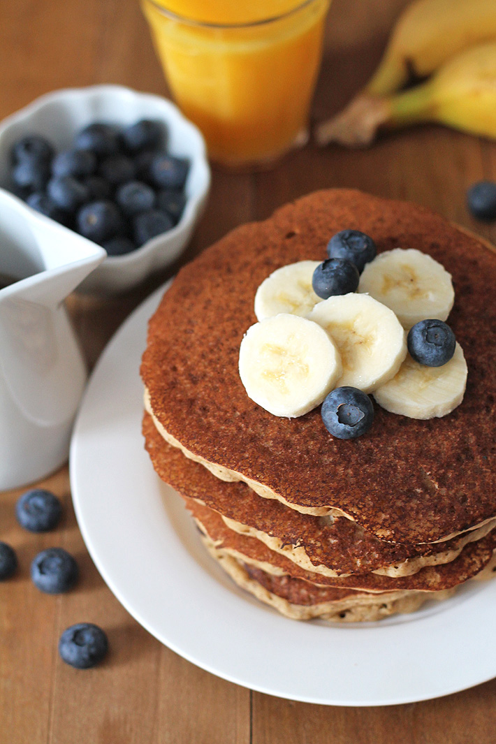 Easy-to-make, ultimate fluffy vegan banana pancakes that will become a new favourite family breakfast or brunch item. Instructions on how to make them gluten-free are also included! #veganpancakes #veganglutenfreepancakes #veganbreakfast #veganglutenfree