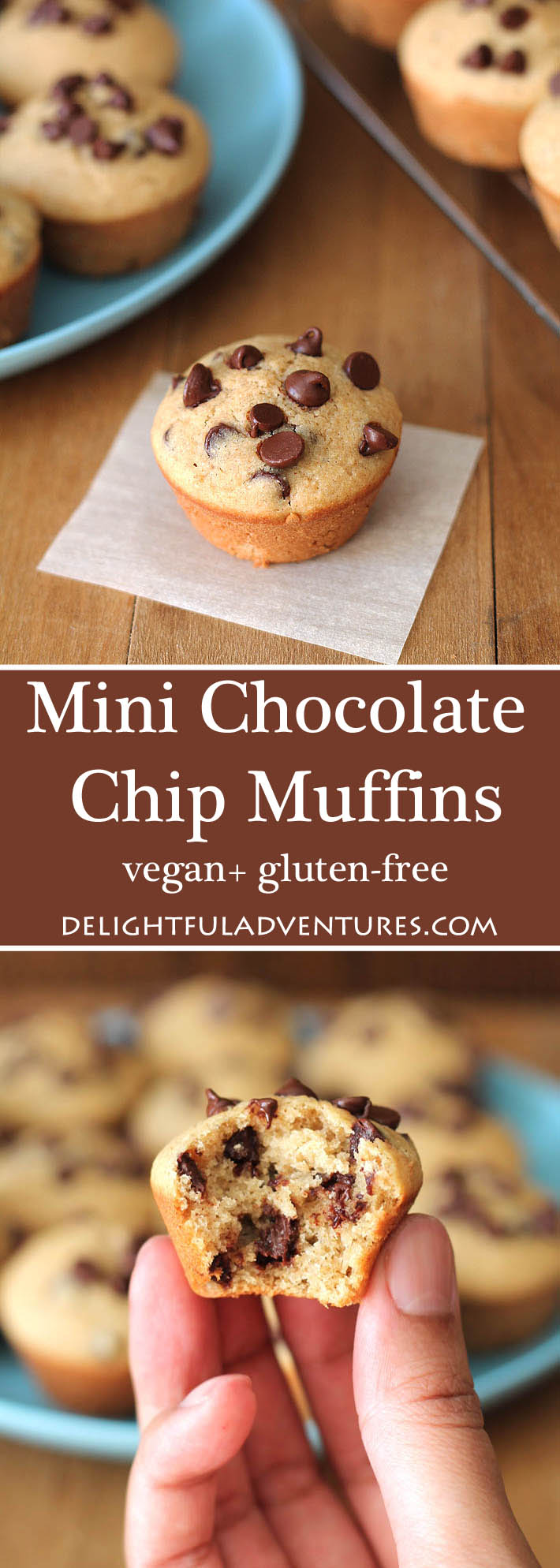 An easy recipe for gluten-free vegan Mini Chocolate Chip Muffins that you can have ready in just under 30 minutes! They're perfect for lunch box snacks and after school snacks. #veganmuffins #glutenfreemuffins #veganglutenfree #glutenfreevegan