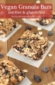 Vegan Granola Bars that also happen to be nut-free and gluten-free! This is a quick and easy recipe to make and add-ins can be customized to suit what you and your family prefer.