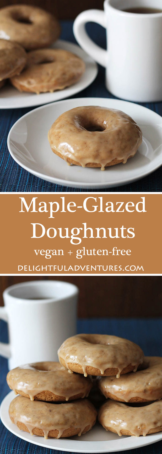 Maple doughnuts that can be made vegan or vegan and gluten-free! The spices and the maple-glaze make these baked doughnuts extra special and perfect to serve as a special treat. #vegandoughnuts #glutenfreedoughnuts #vegandonuts #veganglutenfree
