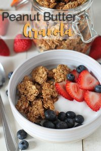 Crunchy peanut butter granola clusters that you'll want to make over and over again after you have them the first time! These delicious vegan gluten-free clusters are perfect for breakfast, brunch, and for adding to parfaits.