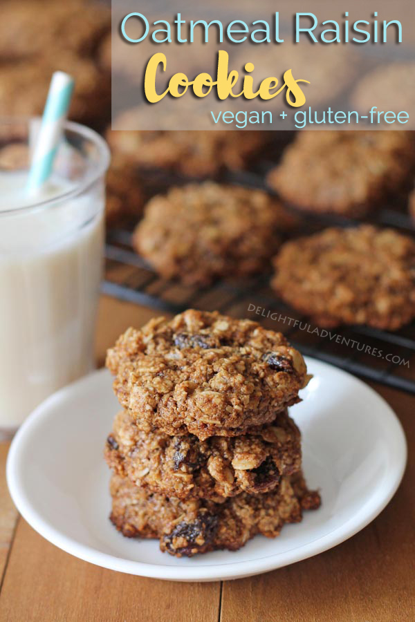Soft-baked vegan oatmeal raisin cookies loaded with raisins and cinnamon. They also happen to be 100% gluten-free and are perfect for snacks and school lunch boxes. #oatmealraisincookies #vegancookies #glutenfreecookies #veganglutenfree #glutenfreevegan