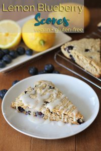 Vegan gluten-free lemon blueberry scones that will go perfectly with your tea or coffee at breakfast and brunch. These scones can also be made just vegan, instructions for both ways are included.