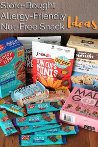 Looking for Store-Bought, Allergy-Friendly, Nut-Free Snacks? This list has got you covered with ideas and suggestions to make your next trip to the grocery store a whole lot easier!