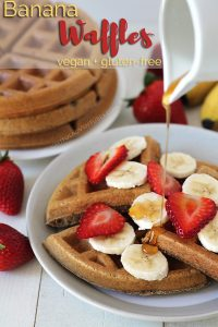 Spiced vegan banana waffles that are crispy on the outside but soft and fluffy on the inside. This delicious gluten-free vegan breakfast will become a new favourite breakfast treat in your home!