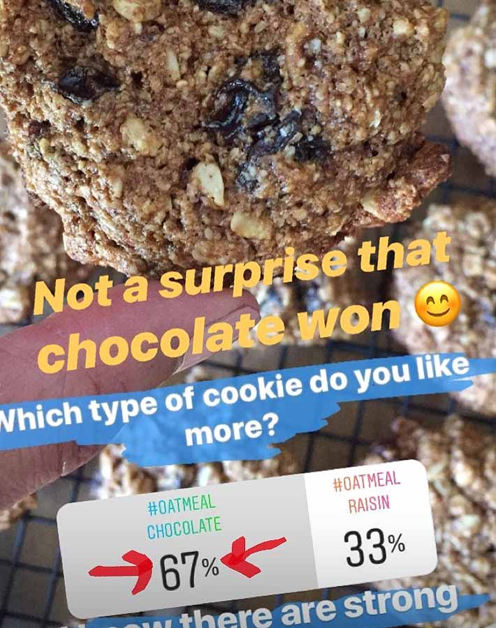 Screenshot of Instagram poll showing the results from question asking if people liked vegan oatmeal raisin cookies better than chocolate chip.