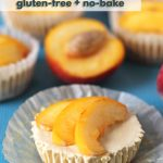 Vegan No Bake Peach Cheesecake Bites that are creamy, sweet, tangy and full of juicy peach flavour. The perfect summer dessert to make during peach season!