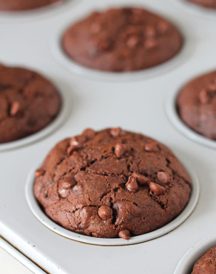 Freshly baked Vegan Gluten Free Chocolate Zucchini Muffins in a muffin pan.