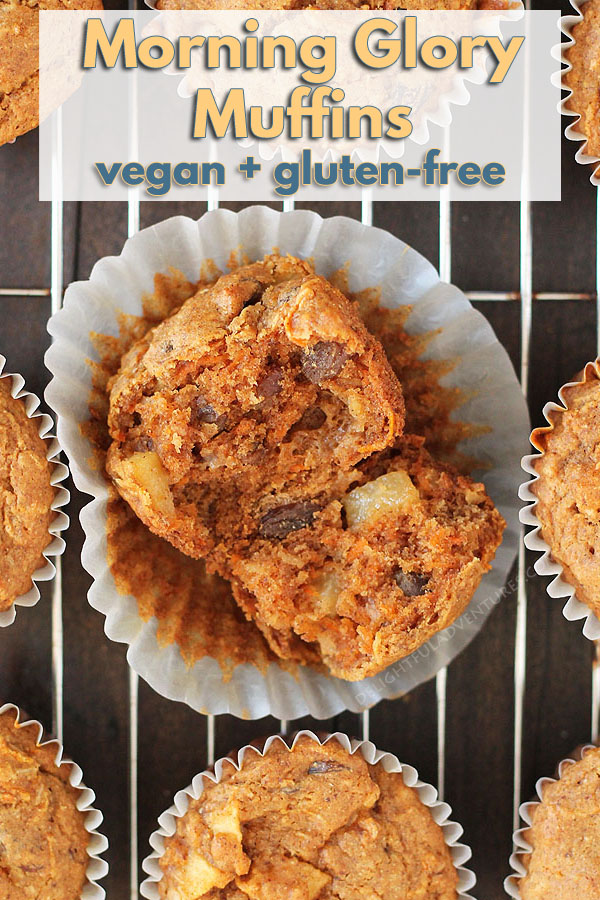 Healthy Vegan Gluten Free Morning Glory Muffins loaded with carrots, coconut, raisins, and apples. Perfect to have for breakfast or a snack. #delightfuladventures #veganmuffins #glutenfreemuffins #veganglutenfreemuffins #morningglorymuffins