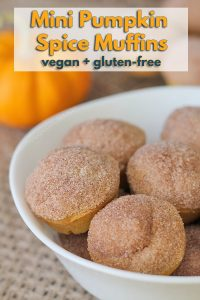 These vegan gluten free pumpkin spice mini muffins are the perfect treat for fall—or any other time of year. Enjoy these vegan pumpkin muffins with a latte or on their own!