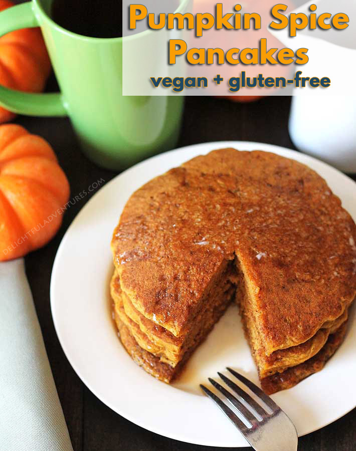 Treat your family to a batch of easy-to-make, fluffy vegan gluten free pumpkin pancakes. They're packed with pumpkin spice flavour everyone will love. #veganpancakes #glutenfreepancakes, #pumpkinpancakes #veganglutenfree