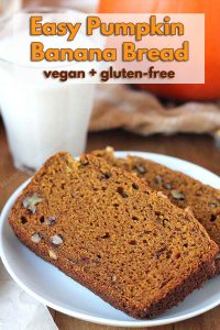 Can't decide between banana bread and pumpkin bread? Then make this Vegan Gluten Free Pumpkin Banana Bread which blends the flavours of both, perfectly.