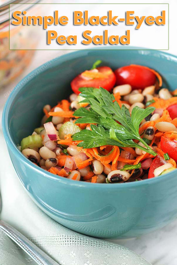 Perfect for lunch, a side dish, or even a light supper, you're going to love this Simple Black-Eyed Pea Salad because it's delicious and so easy to make. #blackeyedpeas #blackeyedpeassalad #beansalad #vegansalad