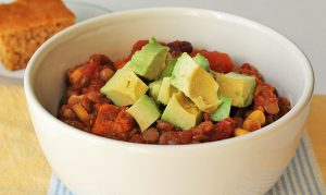 Slow Cooker Lentil Sweet Potato Chili in a bowl.