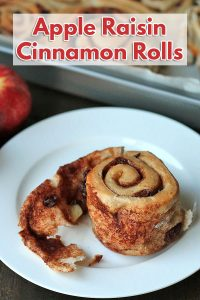 Easy vegan cinnamon rolls with apples and raisins that are tender, not too sweet, and are bursting with flavour. They're the perfect companion for a cup of tea.