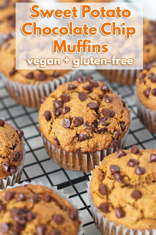 Fluffy, moist, and delicious gluten-free vegan sweet potato muffins that are loaded with mini chocolate chips and contain the perfect balance of warm spices! #delightfuladventures #sweetpotatomuffins #veganmuffins #glutenfreemuffins