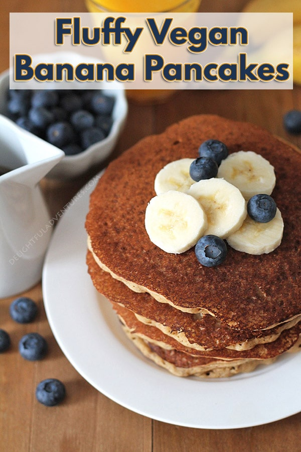 Easy-to-make, ultimate fluffy vegan banana pancakes that will become a new favourite family breakfast or brunch item. Instructions on how to make them gluten-free are also included!