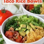 An easy recipe for flavour-filled vegan taco rice bowls. This dish is not only delicious, it's also gluten-free and packed with fresh, tasty ingredients.