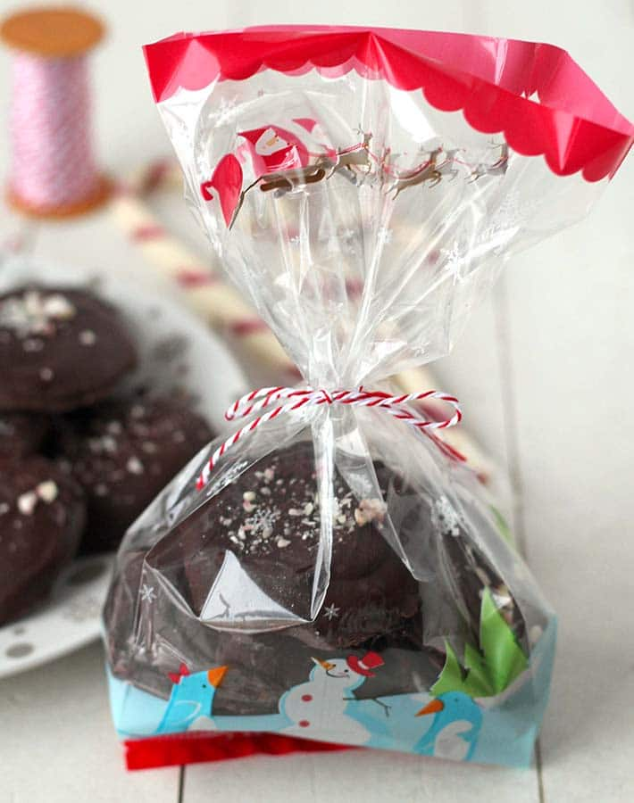 Vegan Peppermint Patties packaged in a gift bag.