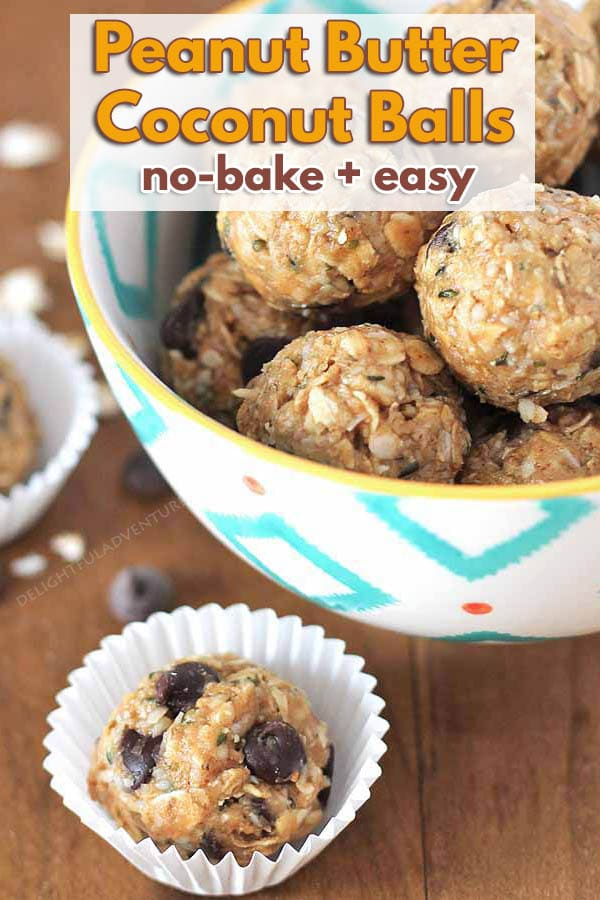 Craving something sweet but healthy? Then grab one of these easy No Bake Easy Peanut Butter Coconut Balls. They're quick to make and they're delicious! #delightfuladventures #peanutbutterballs #nobakedessert #peanutbuttercoconutballs
