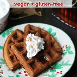 This recipe for easy vegan gluten free gingerbread waffles are a great breakfast idea for Christmas morning (or any other morning during the holidays!).