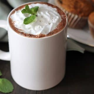 Close up shot of Vegan Peppermint Hot Chocolate in a white mug.