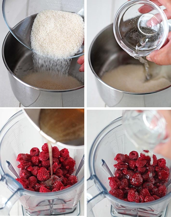 First sequence of steps needed to make easy raspberry sauce.