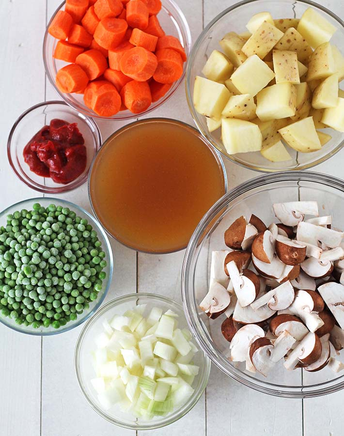 Overhead shot showing all the ingredients needed to make mushroom stew.
