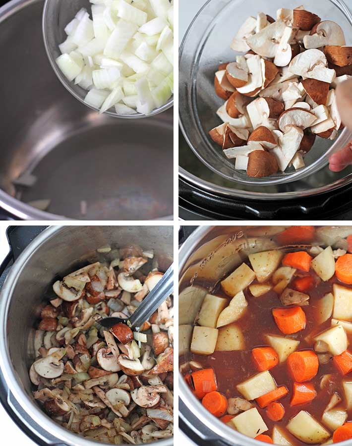 First sequence of steps needed to make vegan mushroom stew.