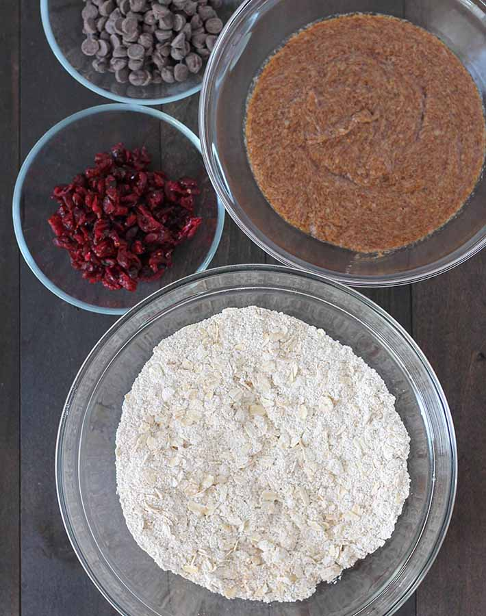 Overhead shot of the ingredients needed to make Oatmeal Cranberry Chocolate Chip Cookies.