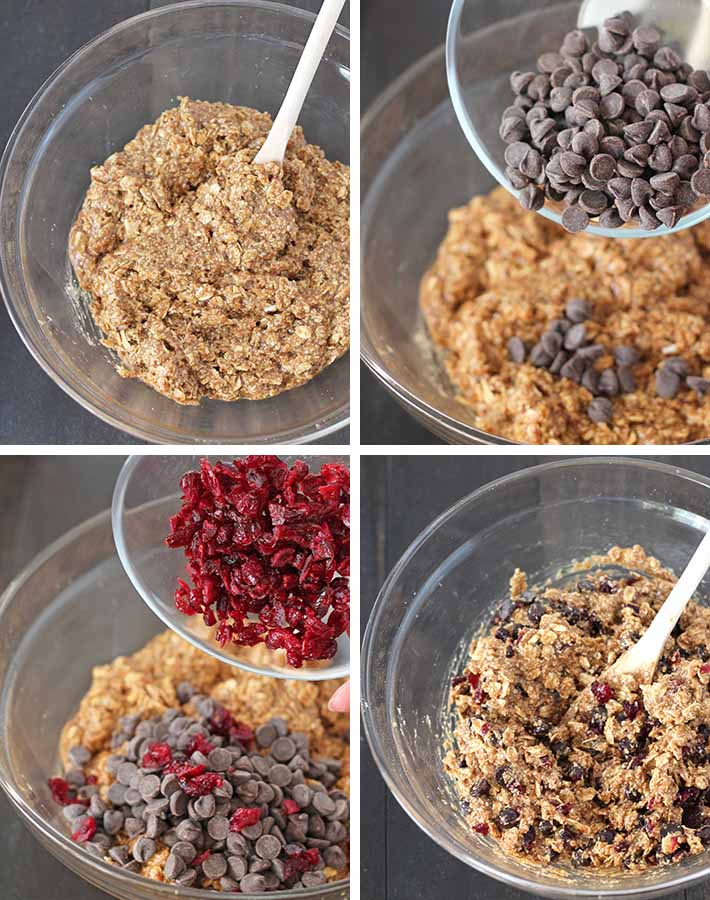 First sequence of steps needed to make Oatmeal Cranberry Chocolate Chip Cookies.