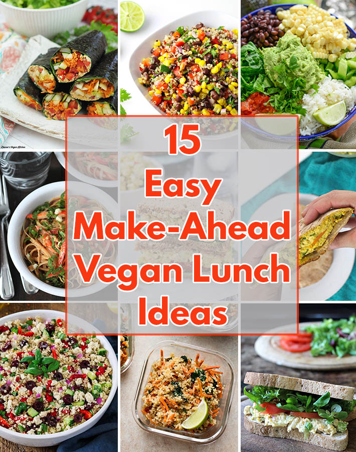These 15 delicious, quick and easy vegan lunch ideas for work (or school) can be made the night before and will have you looking forward to lunch time!