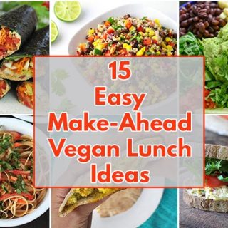 A collage of 6 images of vegan lunch ideas for work.