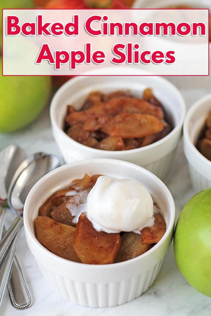 Easy baked cinnamon apple slices are the perfect warm dessert to make when you want something that isn't too heavy, too sweet, is oil-free, and delicious! #delightfuladventures #cinnamonapples #vegandessert #appledessert