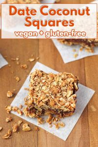 Add a little twist to traditional date squares when you make these Vegan Date Squares with coconut! This tasty, easy-to-make treat also happens to be gluten free!