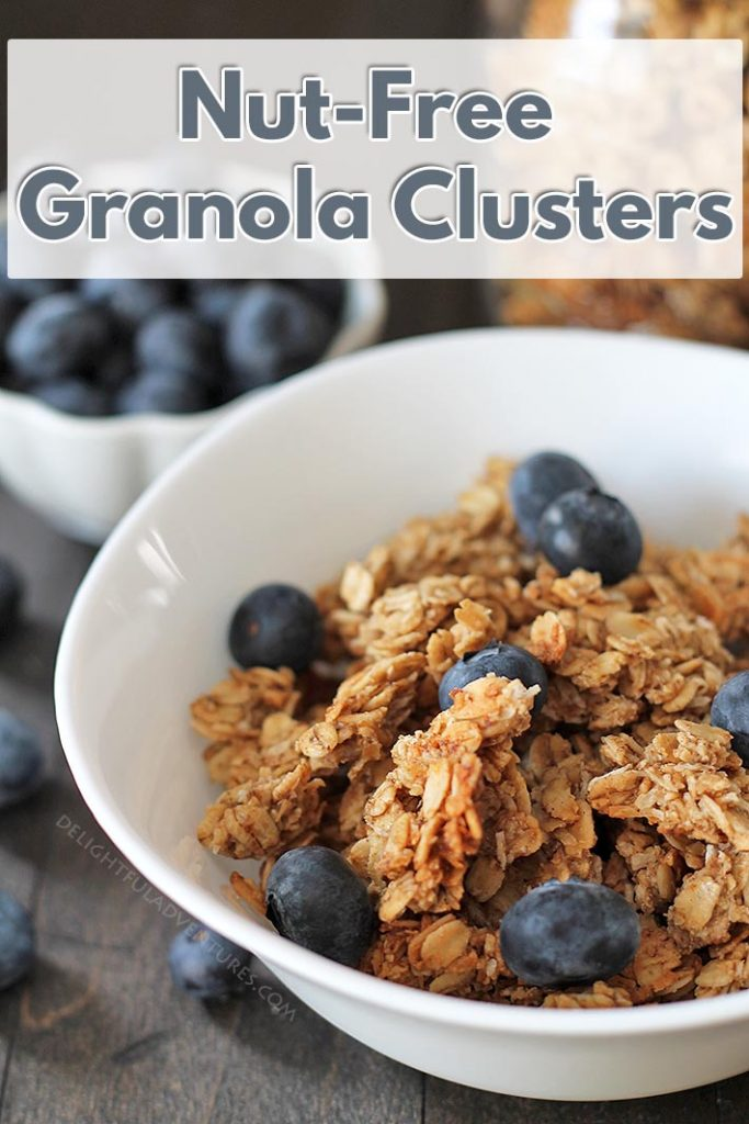 Delicious nut free granola clusters with maple and coconut are perfect to have for breakfast or for snacking on in the afternoon!