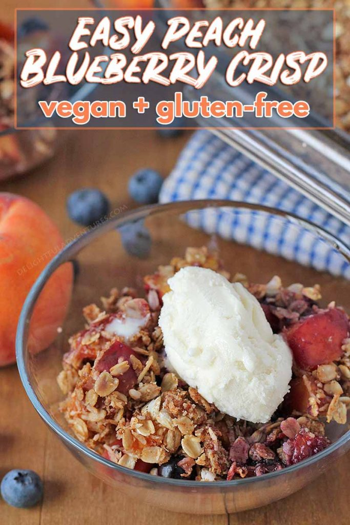 Enjoy a sweet taste of summer with this vegan gluten-free Peach Blueberry Crisp that's bursting with juicy summer fruit. Enjoy with a topping or as-is!