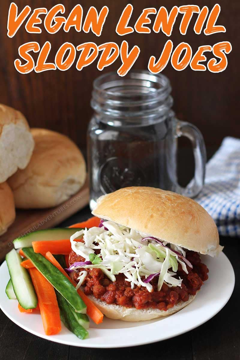 Delicious, Smoky, Vegan Lentil Sloppy Joes that can be made in your Instant Pot pressure cooker, slow cooker / crock pot, or on the stove top. Instructions for all methods are included! #lentilsloppyjoes #vegansloppyjoes #vegansandwiches #veganlentilsloppyjoes