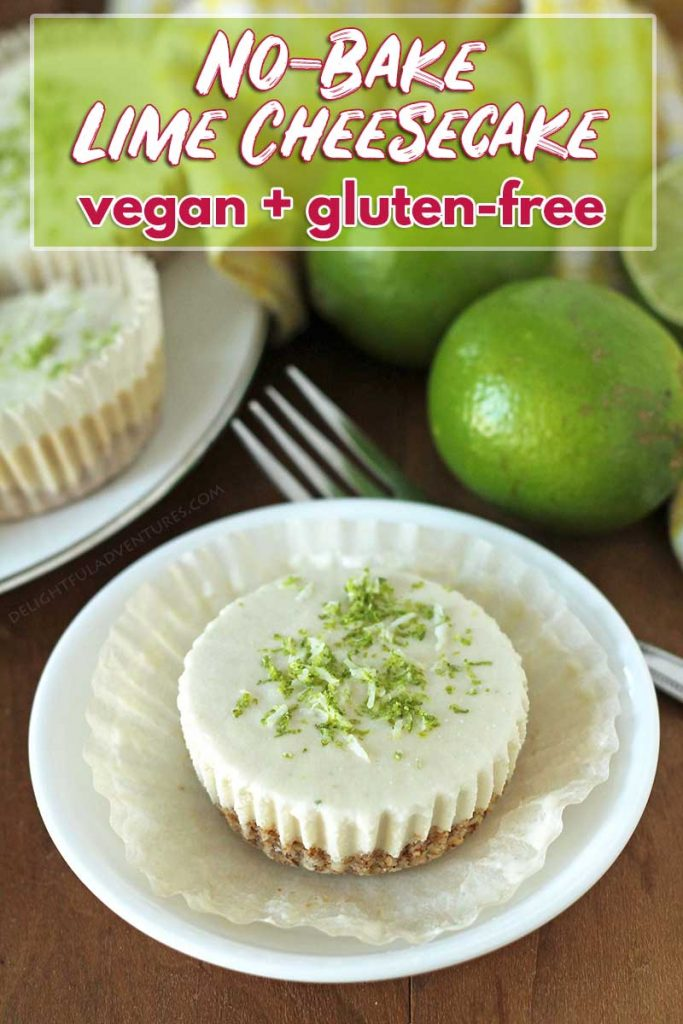 This easy, no-bake, dairy-free vegan lime cheesecake recipe contains no cashews and is also gluten-free! It's the perfect creamy, tangy, sweet dessert to end your meal.