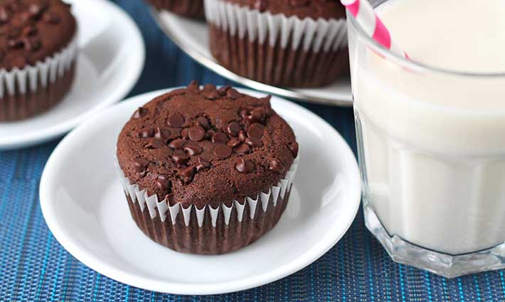 Gluten-Free Vegan Chocolate Muffins on white plates, a glass of almond milk sits to the right.