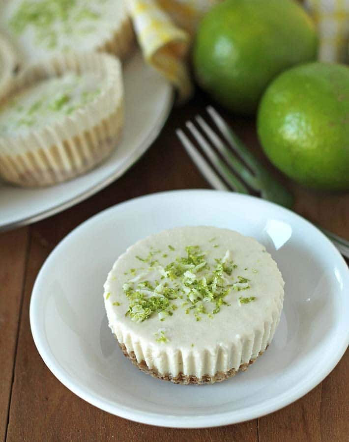 Vegan Lime Cheesecake on a small white plate.