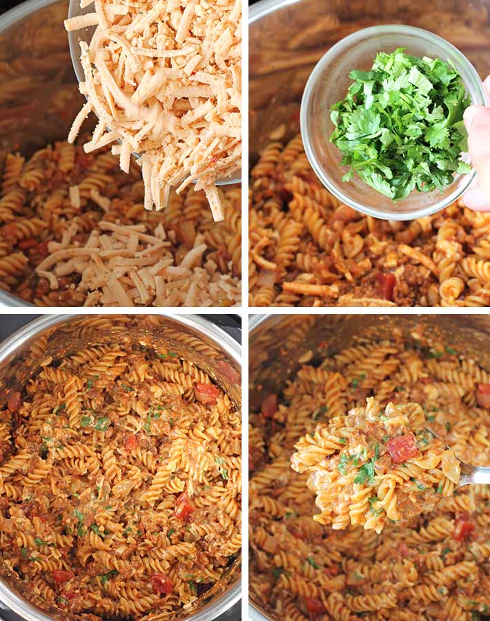 Third sequence of steps needed to make one pot cheesy taco pasta.