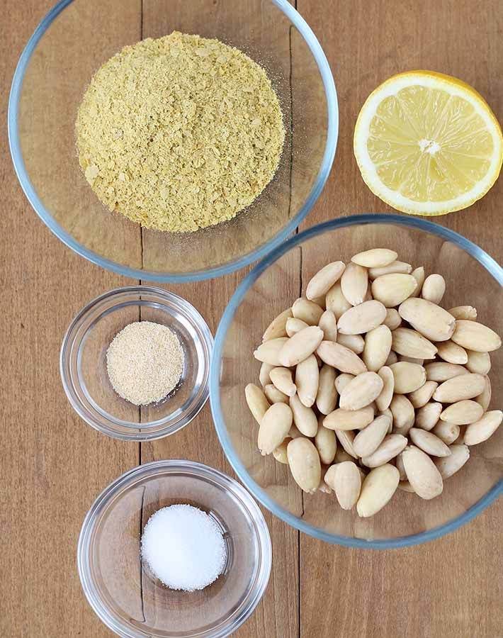 Overhead shot of the ingredients needed to make vegan parmesan.